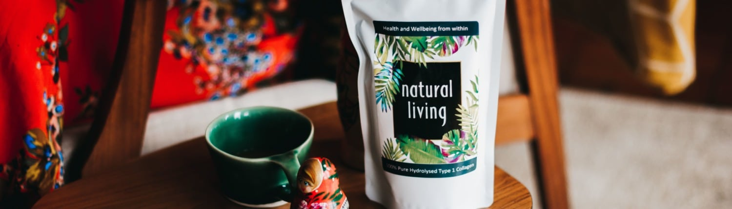 Natural Living Hydrolysed Collagen Powder on a coffee table