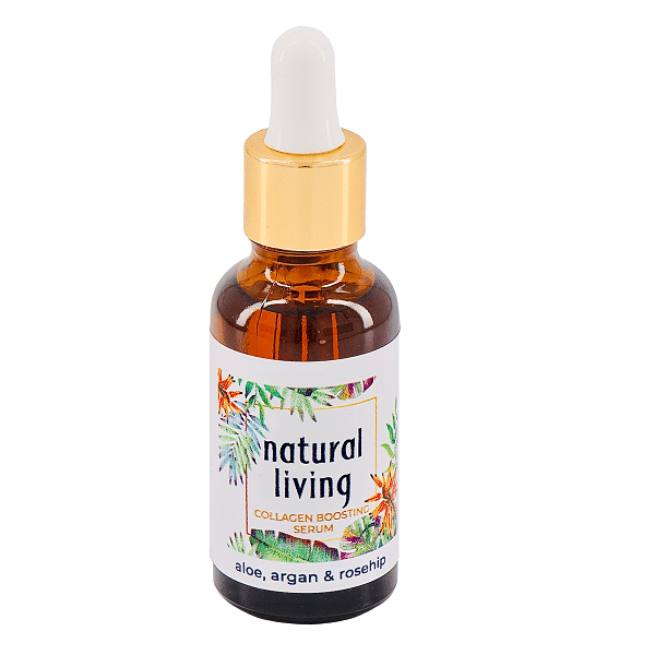 Natural Living Aloe, Argan and Rosehip Collagen Boosting Serum in a 30ml amber bottle