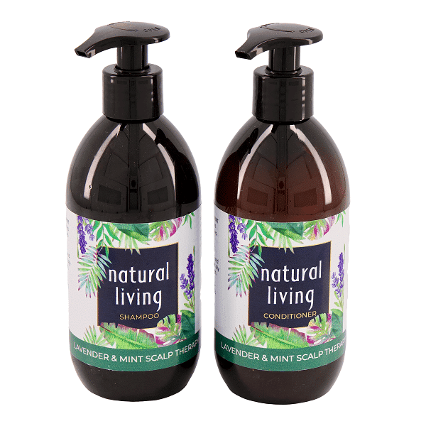 Natural Living Lavender and Mint Scalp Therapy Sulphate Free Shampoo and Conditioner Combo in 2 X 300ml Amber Bottles