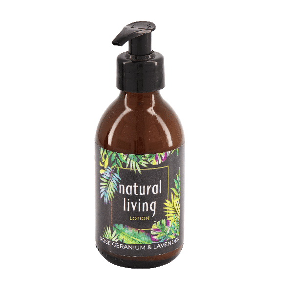 Natural Living Rose Geranium & Lavender Hand & Body Lotion in a 200ml amber bottle