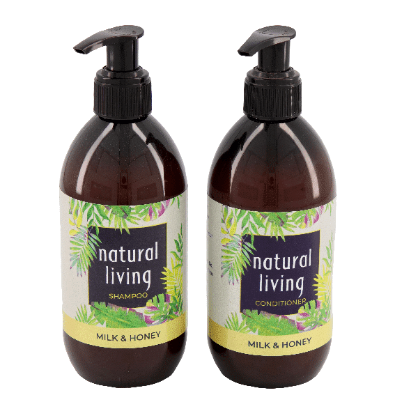 Natural Living Honey and Milk Shampoo and Conditioner Combo - 2 X 300ml Amber Bottles