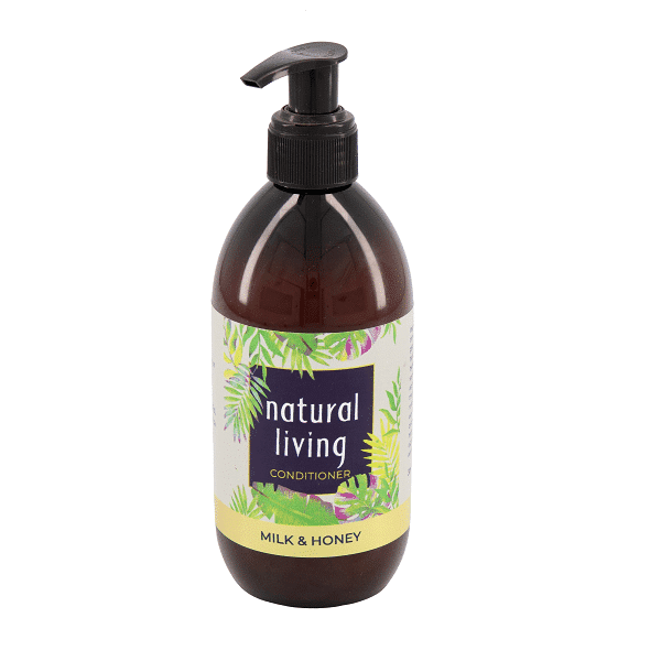 Natural Living Milk and Honey Conditioner in a 300ml Amber Bottle