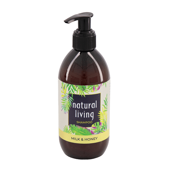 Natural Living Milk and Honey Shampoo in a 300ml Amber Bottle