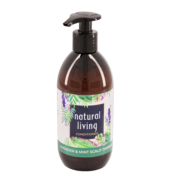 Natural Living Lavender and Mint Scalp Therapy Sulphate Free Conditioner in a 300ml amber bottle