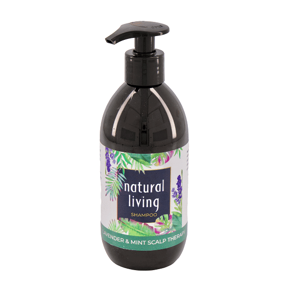 Natural Living Lavender and Mint Scalp Therapy Sulphate Free Shampoo in a 300ml amber bottle