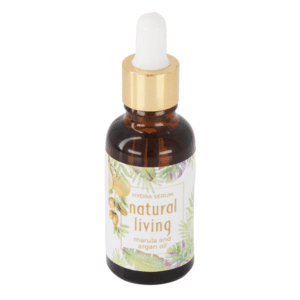 Natural Living Marula and Argan Hydra Serum in a 30ml amber bottle