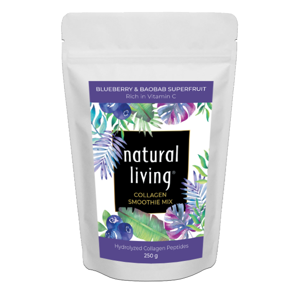 Pure Hydrolysed Collagen Smoothie Mix With Blueberry and Baobab Superfruits in 250g pouch.