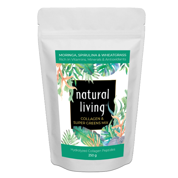 Pure Hydrolysed Collagen Super Greens Mix With Moringa, Spirulina and Wheatgrass in 250g pouch.
